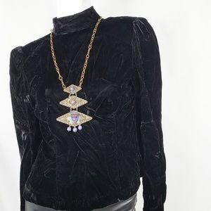 Vintage Purple Stone MASK Metal Necklace